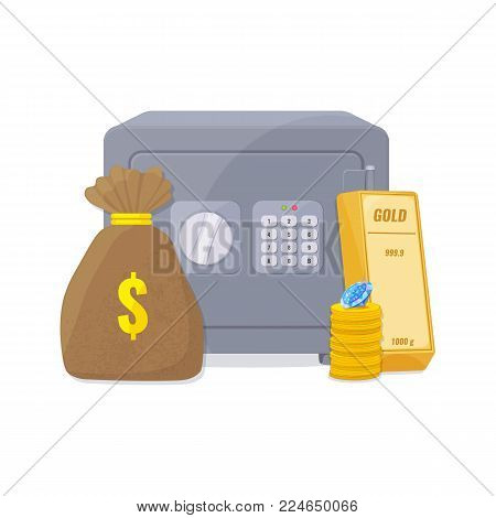 Capital, save money concept. Metal closed safe box and gold bullion, a stack of coins, diamond and money bag. Vector illustration
