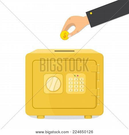 Save money concept. Gold closed safe box and male hand puts the coin in the Moneybox. Vector illustration