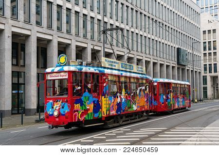 Frankfurt, Germany - January 27, 2018: The Ebbelwei-Express, apple wine express in German, tram is a historic streetcar used mainly by tourists for sightseeing city tours.