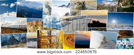 Collage of various nature photos in different seasons, aspect ratio for social network cover photo