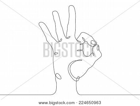 Continuous one line drawing hand palm fingers gestures. Hand showing OK gesture