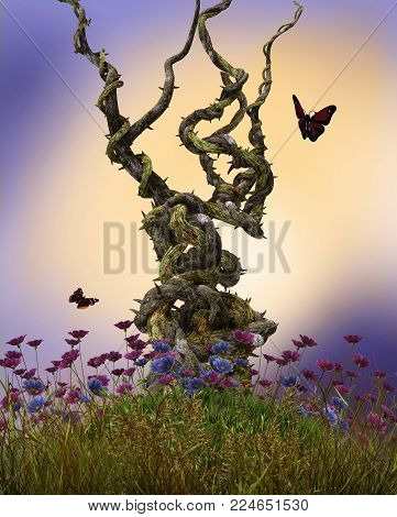 3D render illustration of enchanting heavy twisted vines on top of a hill surrounded by flowers