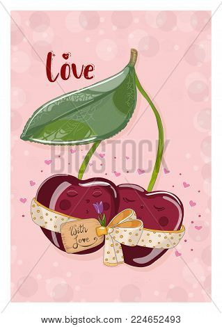 Postcard cherries with a flower in love. Hand drawn postcard from