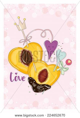 Postcard peach in chocolate with faces hearts in love. Hand drawn postcard from