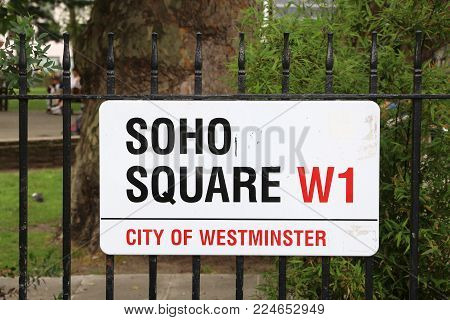 London, Uk - July 9, 2016: Soho Square Sign In London, Uk. London Is The Most Populous City In The U
