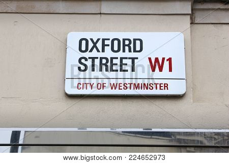 London, Uk - July 9, 2016: Oxford Street Sign In London, Uk. London Is The Most Populous City In The