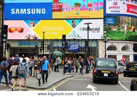 London, Uk - July 9, 2016: People Visit Piccadilly Circus In London. London Is The Most Populous Cit