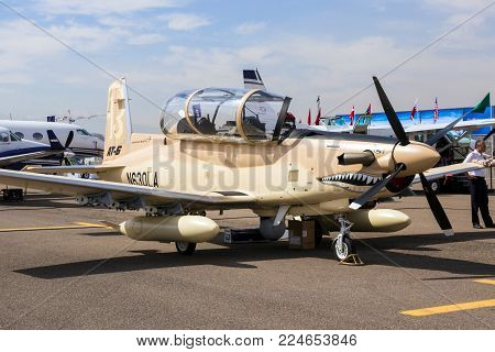 MARRAKECH, MOROCCO - APR 28, 2016: Hawker Beechcraft AT-6 Texan II plane on display at the Marrakech Air Show.