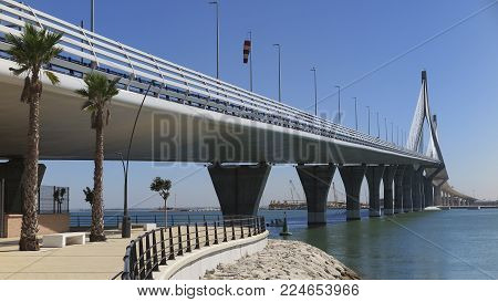 panoramic horizontal view of bridge of the constitution of 1812 in the city of cadiz, spain