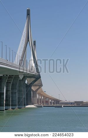 vertical view of the structure of the bridge of the constitution of 1812 in the city of Cadiz, Spain