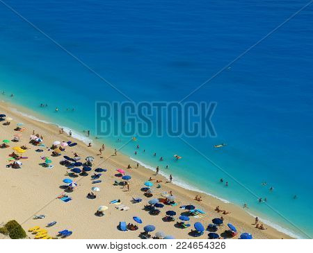 Egremni beach, Lefkada island, Greece. Large and long beach with turquoise water
