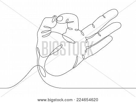Continuous one line drawing hand palm fingers gestures.Hand showing OK gesture