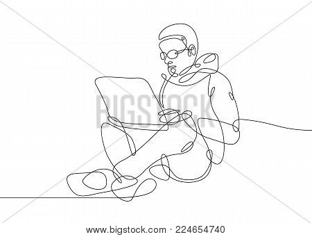 Continuous drawn hand-drawn one line of the user sitting at the computer. Concept work for a laptop Internet startup is a businessman IT specialist hipster programmer.