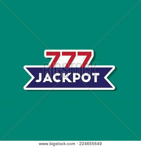 paper sticker on stylish background of jackpot Lucky seven