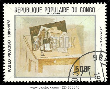 Congo - circa 1981: Stamp printed by Congo, Color edition on Art, shows Painting Grande Nature Morte by Pablo Picasso, circa 1981