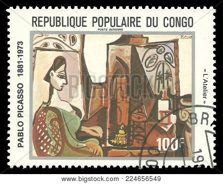Congo - circa 1981: Stamp printed by Congo, Color edition on Art, shows Painting Jacqueline in Studio by Pablo Picasso, circa 1981