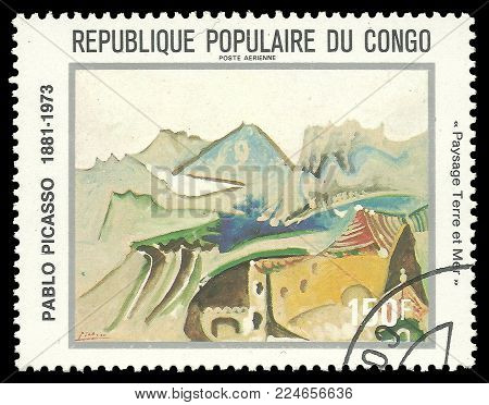 Congo - circa 1981: Stamp printed by Congo, Color edition on Art, shows Painting Landscape Land and Sea by Pablo Picasso, circa 1981
