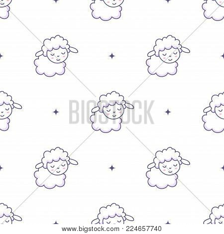 Vector pattern with lambs and stars. White background with cute animals. Textile for baby.