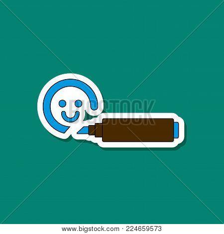 paper sticker on stylish background of Kids toy felt-tip marker