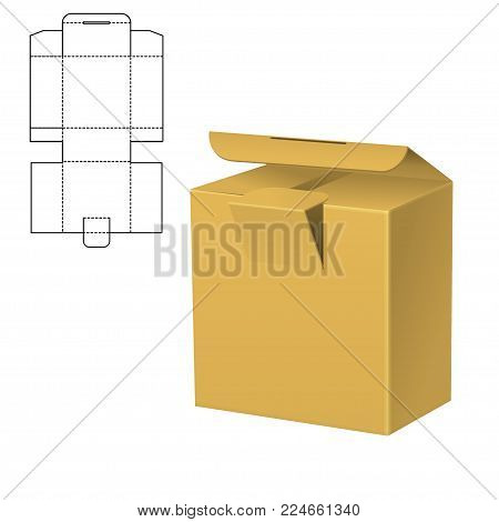 Vector Illustration of Diecut Craft Box for Design, Website, Background, Banner. Retail Folding package Template. Fold pack with dieline for your brand on it