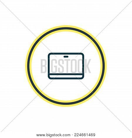 Vector illustration of tablet icon line. Beautiful workplace element also can be used as palmtop icon element.