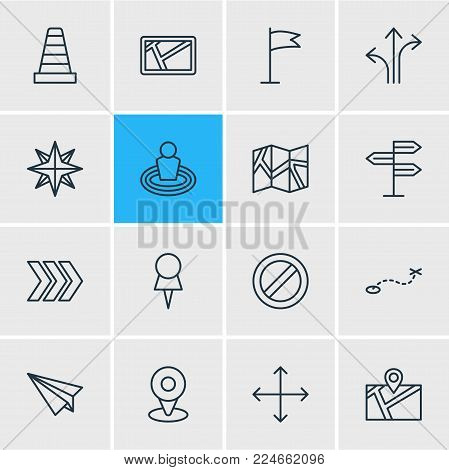 Vector illustration of 16 location icons line style. Editable set of cone, pushpin, no entry and other icon elements.