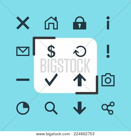 Vector illustration of 16 user icons. Editable set of warning, homepage, earning and other icon elements.