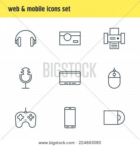 Vector illustration of 9 device icons line style. Editable set of monitor, photocopier, cursor controller and other icon elements.