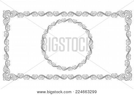Ornate black rectangular and round frames, decorative corners. Pattern brush is included.