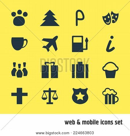 Vector illustration of 16 map icons. Editable set of jungle, map information, aircraft and other icon elements.