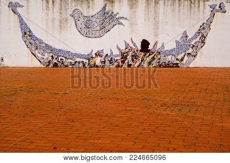 Figueira da Foz, Portugal - January 26, 2018: Walls of Figueira da Foz, Portugal