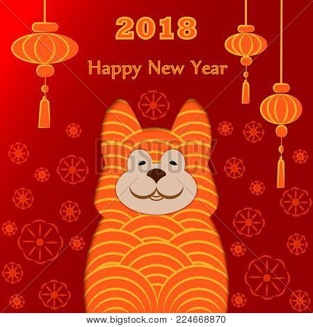 Happy Chinese New Year 2018 Year of Dog Vector Design Chinese Translation Year of Dog Prosperity