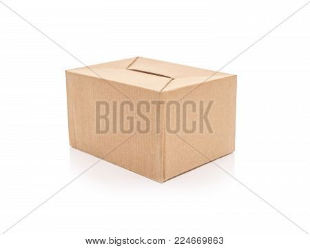 Postage cardboard box isolated on a white background.