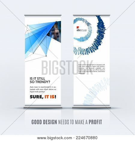 Abstract business vector set of modern roll up banner stand design template with blue triangles, geometric shapes for event, market, exhibition, show, expo, presentation, parade.