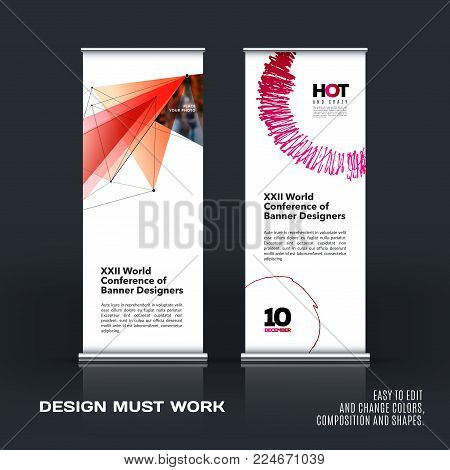 Abstract business vector set of modern roll up banner stand design template with red triangles, geometric shapes for event, market, exhibition, show, expo, presentation, parade.
