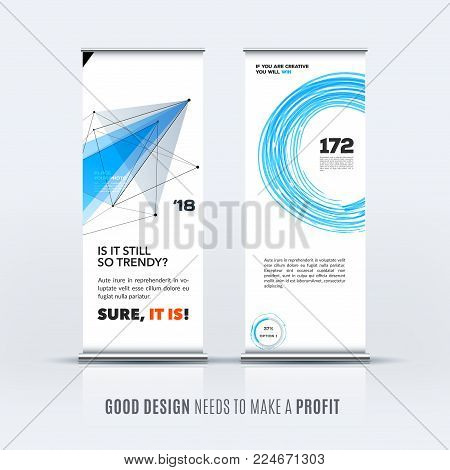 Abstract business vector set of modern roll up banner stand design template with grey triangles, geometric shapes for event, market, exhibition, show, expo, presentation, parade.