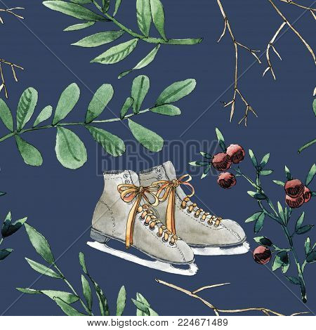 Watercolor seamless pattern with branches, leaves, berries and ice skates shoes. Will be good for gift wrapping, boxes design, site and greeting cards background, bussiness e-mail decor and etc.