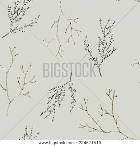 Watercolor seamless pattern with branches and leaves. Will be good for gift wrapping, boxes design, site and greeting cards background, bussiness e-mail decor and etc.