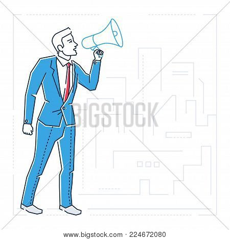 Businessman with a megaphone - line design style isolated illustration on white urban background. Metaphorical image of a confident person speaking, trying to inspire the public. Ideas sharing concept