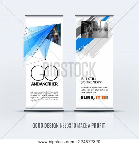 Abstract business vector set of modern roll up banner stand design template with grey blue triangles, geometric shapes for event, market, exhibition, show, expo, presentation, parade.
