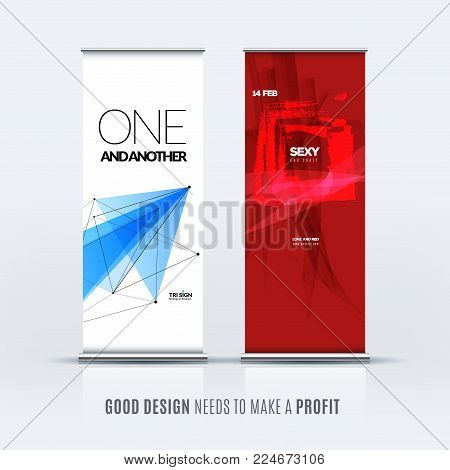 Abstract business vector set of modern roll up banner stand design template with blue red triangles, geometric shapes for event, market, exhibition, show, expo, presentation, parade.
