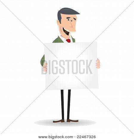 Cartoon White Businessman Blank Sign
