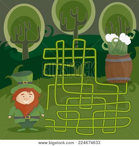 Maze game for kids with gnome and green beer. Help red Leprechaun to find his way to the green beer. Vector cartoon template page with game.