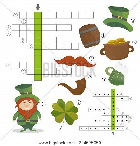 Patricks Day holiday - puzzle - crossword game for children - Answer included