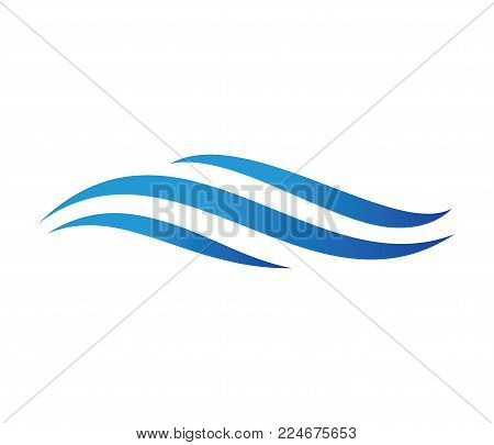 Vector Logo Design For Dynamic Wave, Ocean Sea Water Wave Home Resort, Sailing Boat, Ocean Cruise To