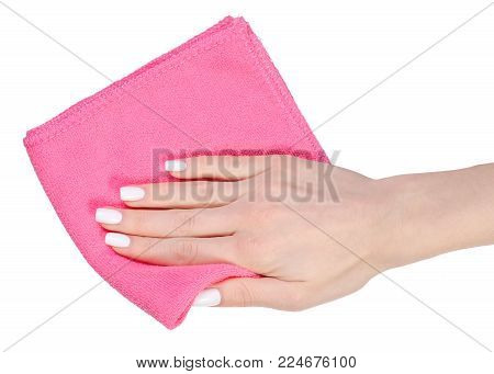 Napkin microfiber pink in hand on a white background isolation