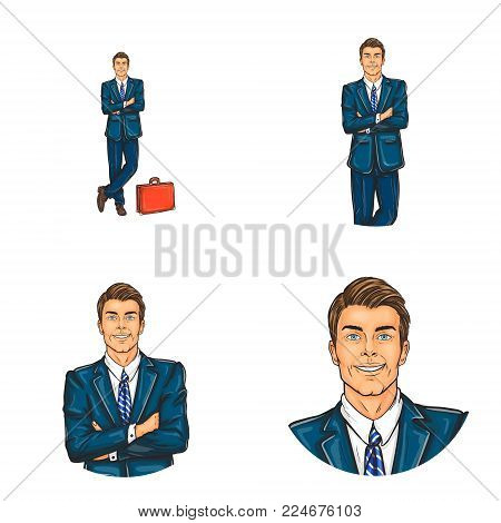 Vector set of male round avatars for users of social networks, blogs, profile icons in pop art style. Smiling, confident man, businessman, in a business suit stands with crossed arms and briefcase
