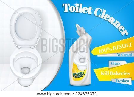 Toilet cleaner vector advertising poster template illustration of white plastic detergent bottle and toilet on white and blue background. 100 percent super clean result for bathroom cleaner product