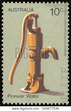 AUSTRALIA - CIRCA 1972: a stamp printed in the Australia shows Water Pump, Australian Pioneer Life, circa 1972