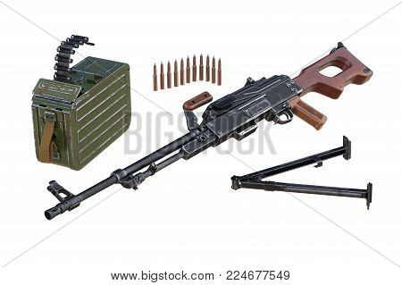 Military weapon army equipment disassembled view. 3D rendering